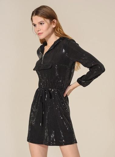 Agenda Parıltılı Kapişonlu Mini Elbise Siyah